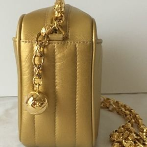 CHANEL Bags - CHANEL Gold Lambskin Camera Bag w Gold Ball Zipper